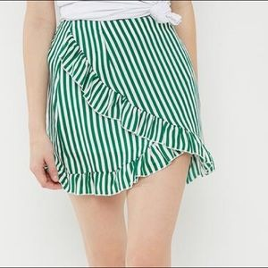Misguided Frill Striped Green + White Mini Skirt